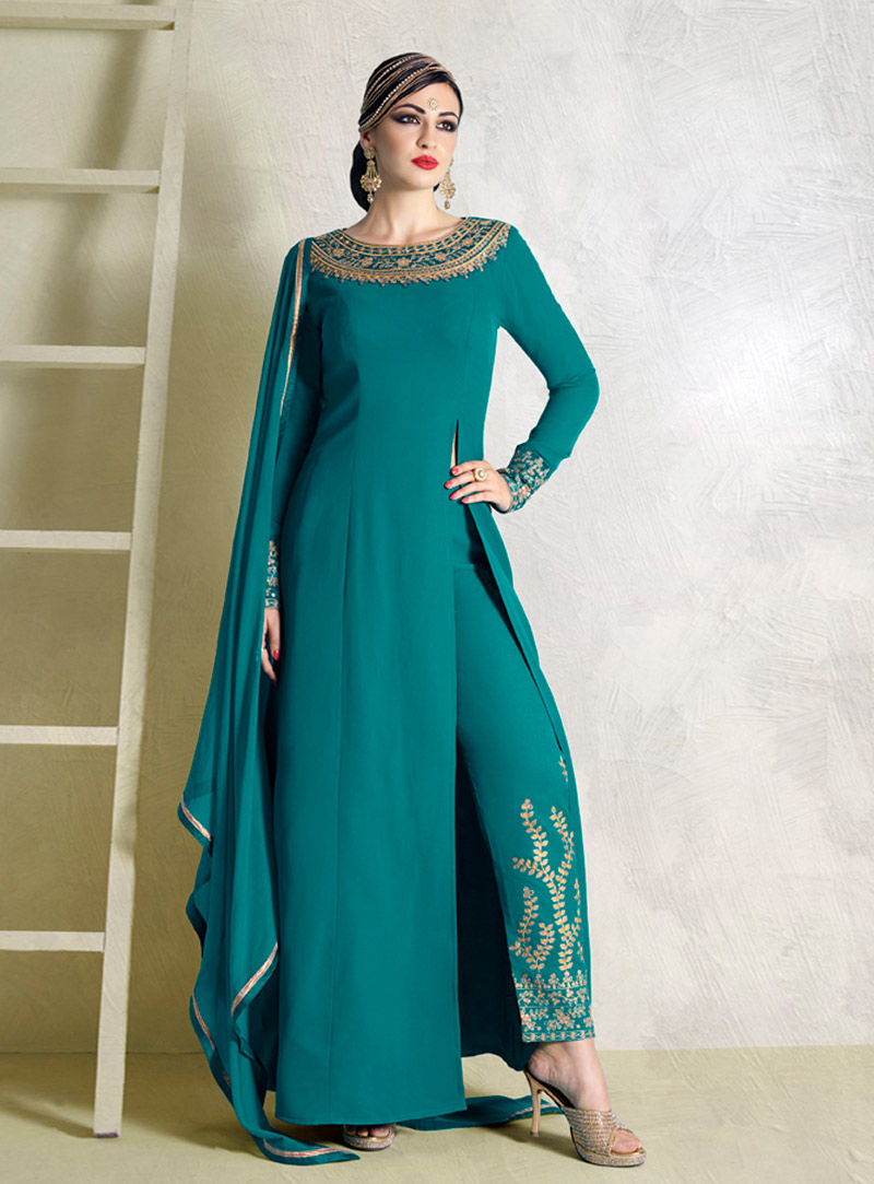 Turquoise Moss Kameez With Pant 74439
