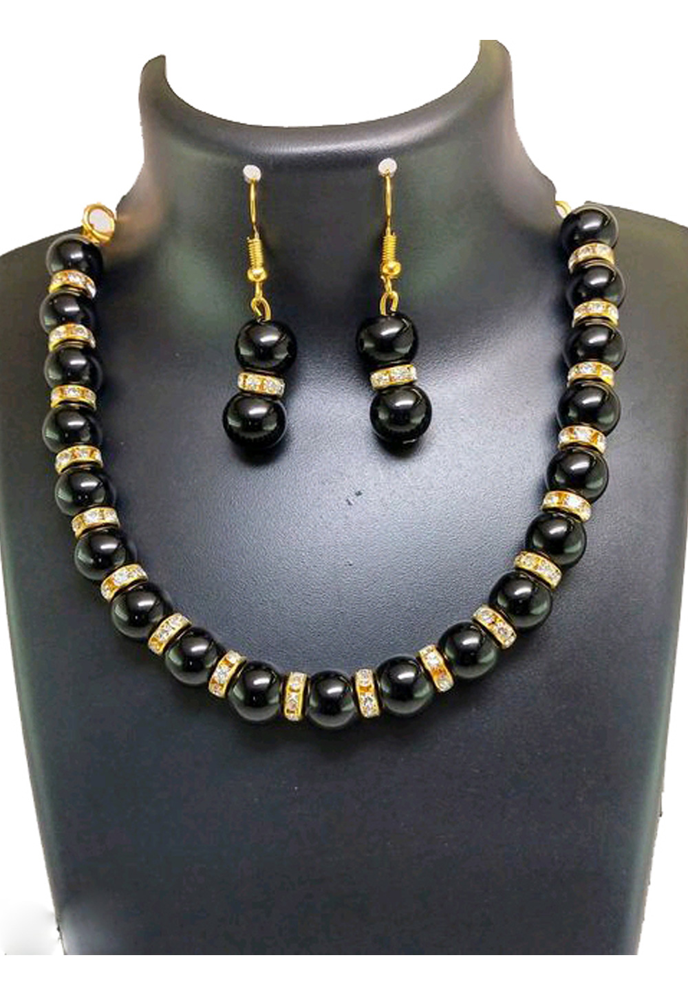 Black Alloy Austrian Diamond Necklace Set Earrings 191601
