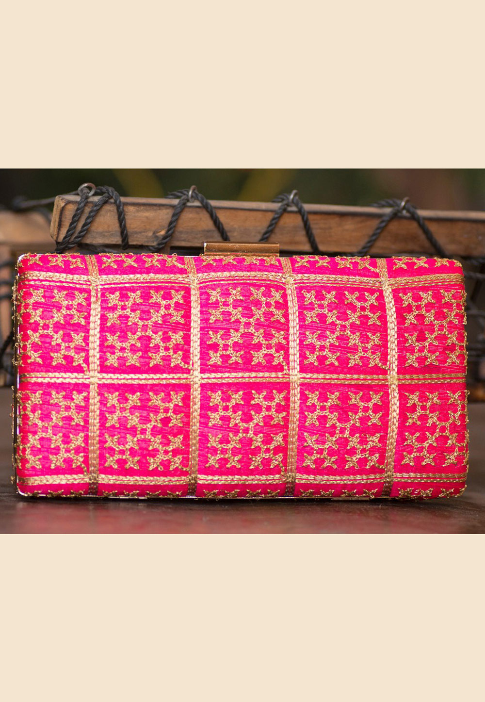Pink Polyester Embroidered Clutch 207927