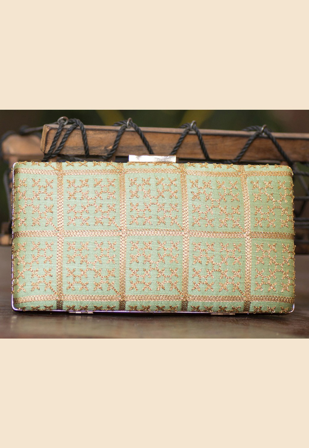 Pista Green Polyester Embroidered Clutch 207929