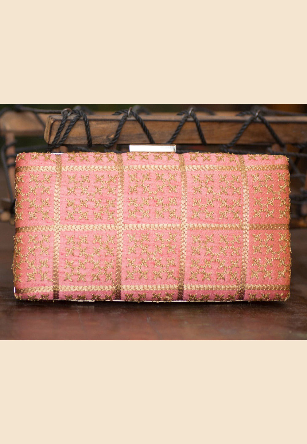 Pink Polyester Embroidered Clutch 207930