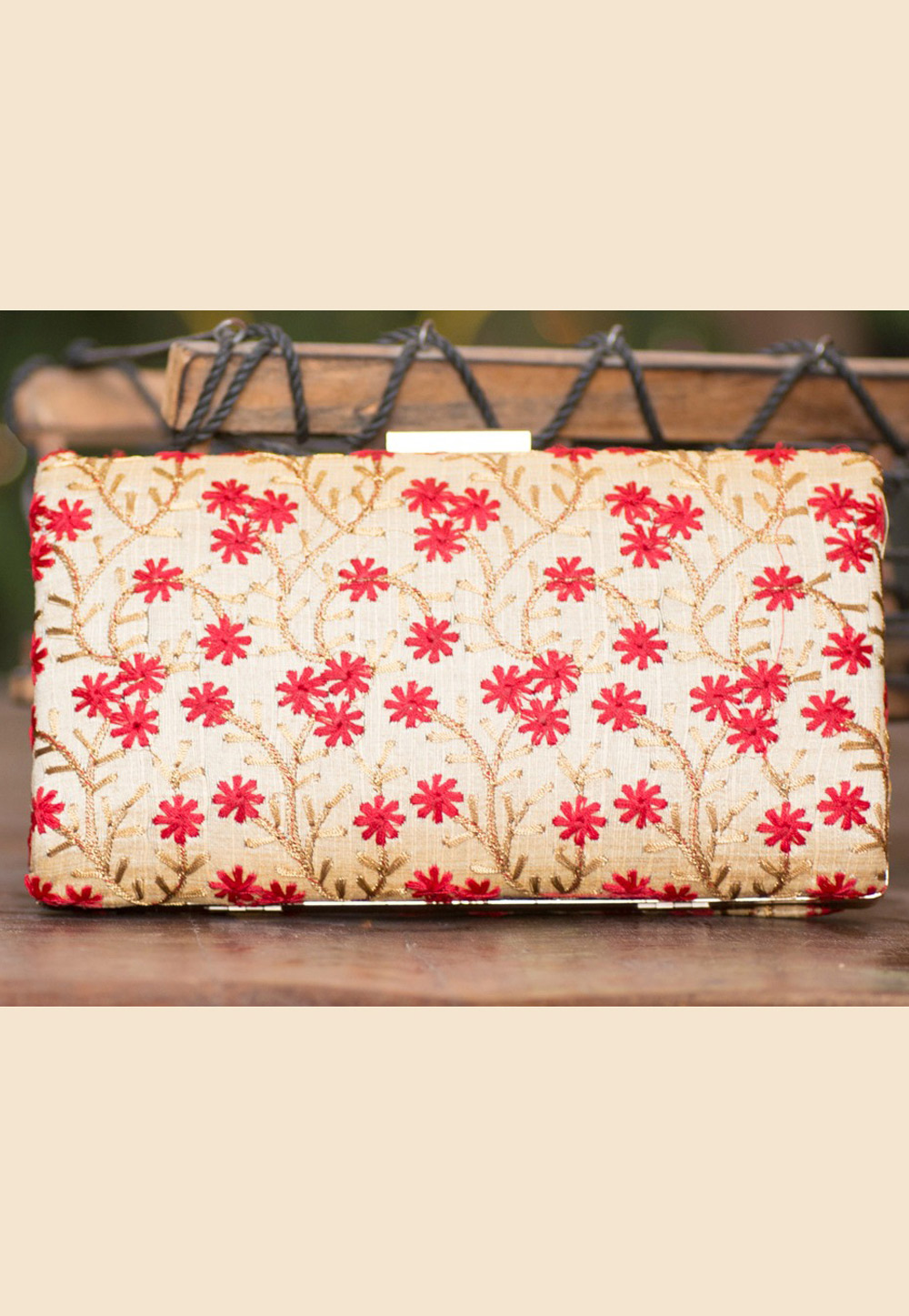 Beige Polyester Embroidered Clutch 207931
