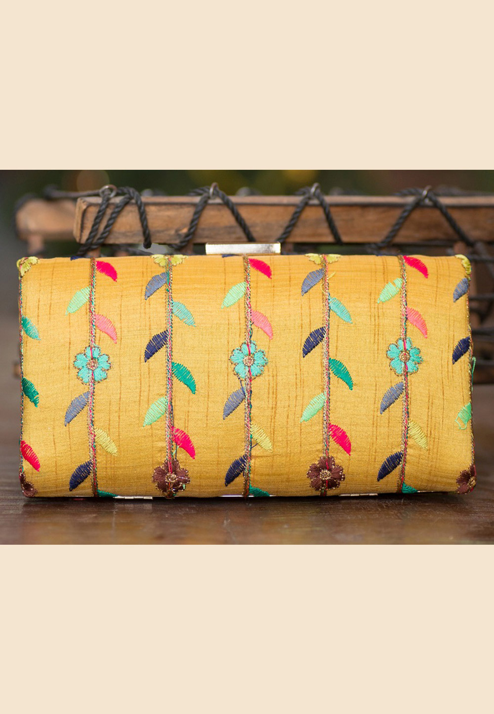 Yellow Polyester Embroidered Clutch 207933