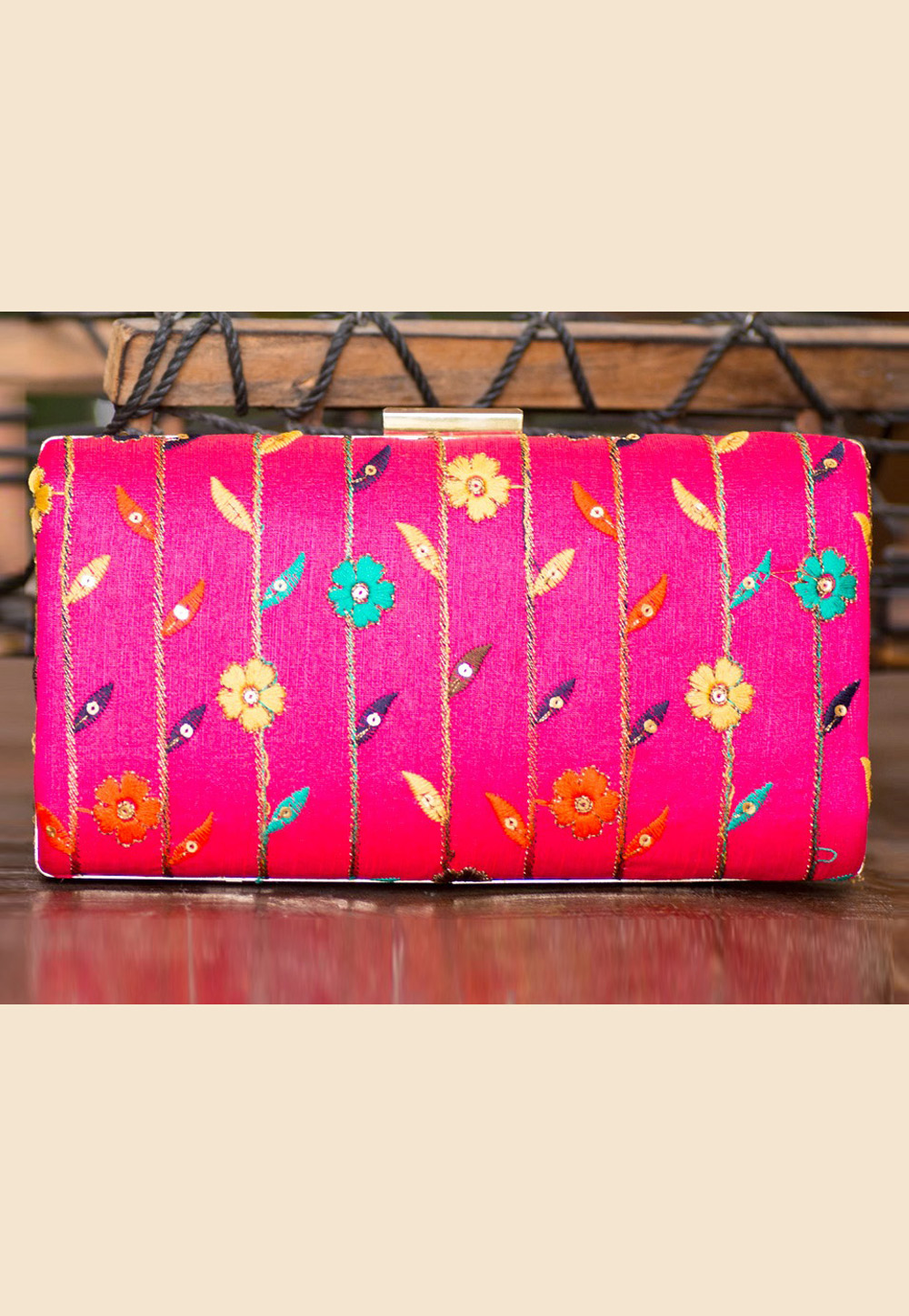 Magenta Polyester Embroidered Clutch 207934