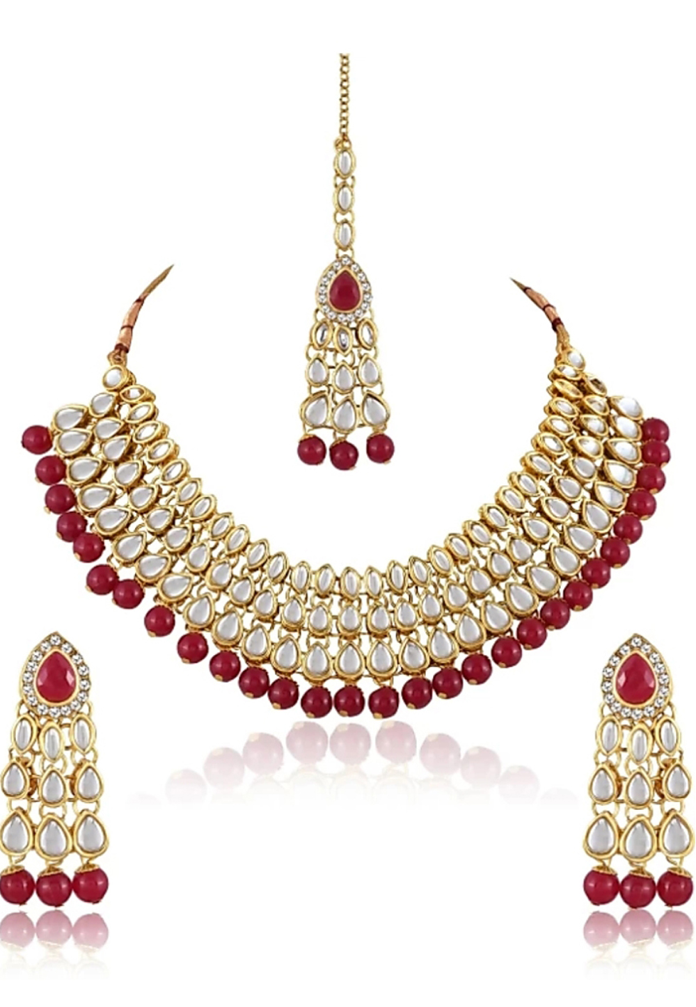 Red Alloy Austrian Diamond Necklace Set Earrings 191614