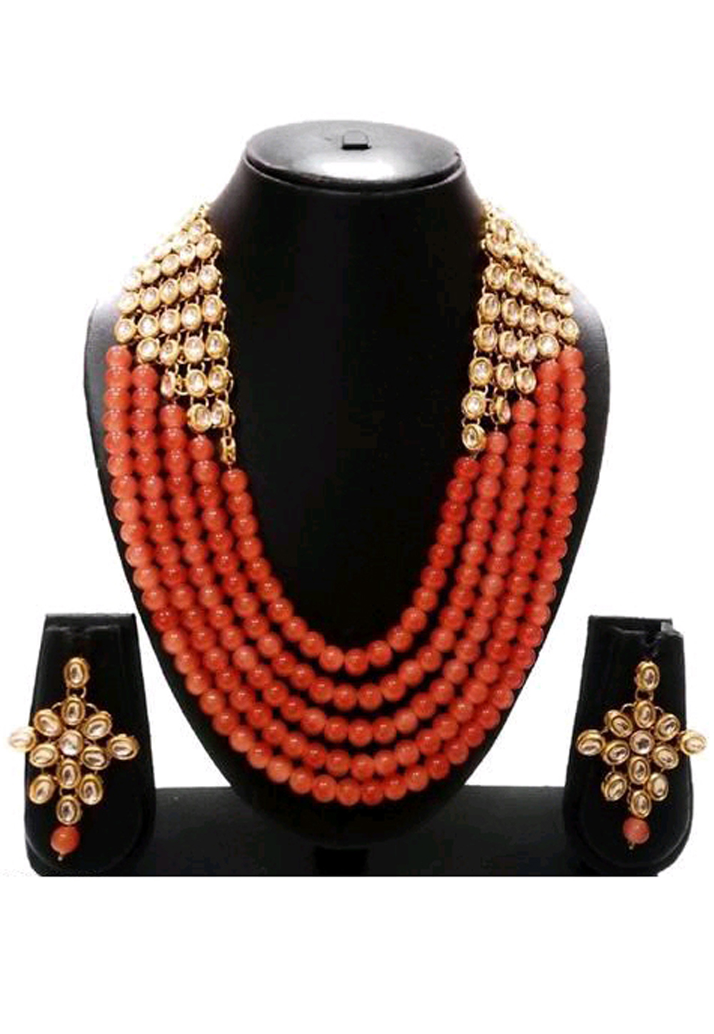 Orange Alloy Austrian Diamond Necklace Set Earrings 191617