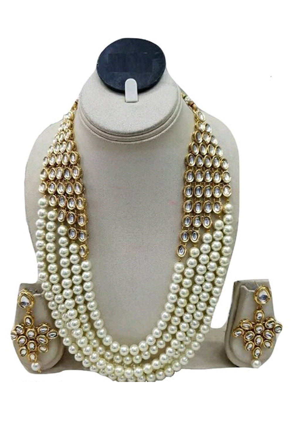 White Alloy Austrian Diamond Necklace Set Earrings 191619