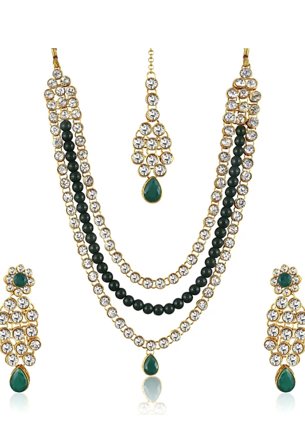 Green Alloy Austrian Diamond Necklace Set Earrings 191625