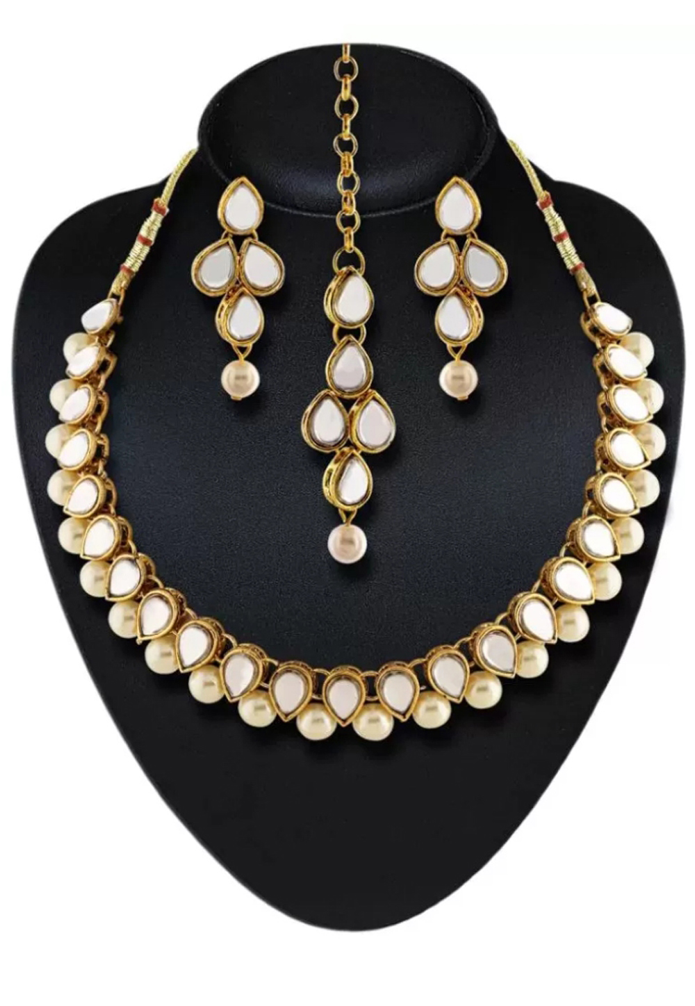 White Alloy Austrian Diamond Necklace Set Earrings 191627
