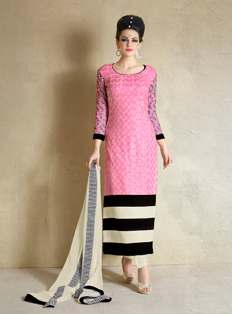 Pink Georgette Straight Cut Suit 74445