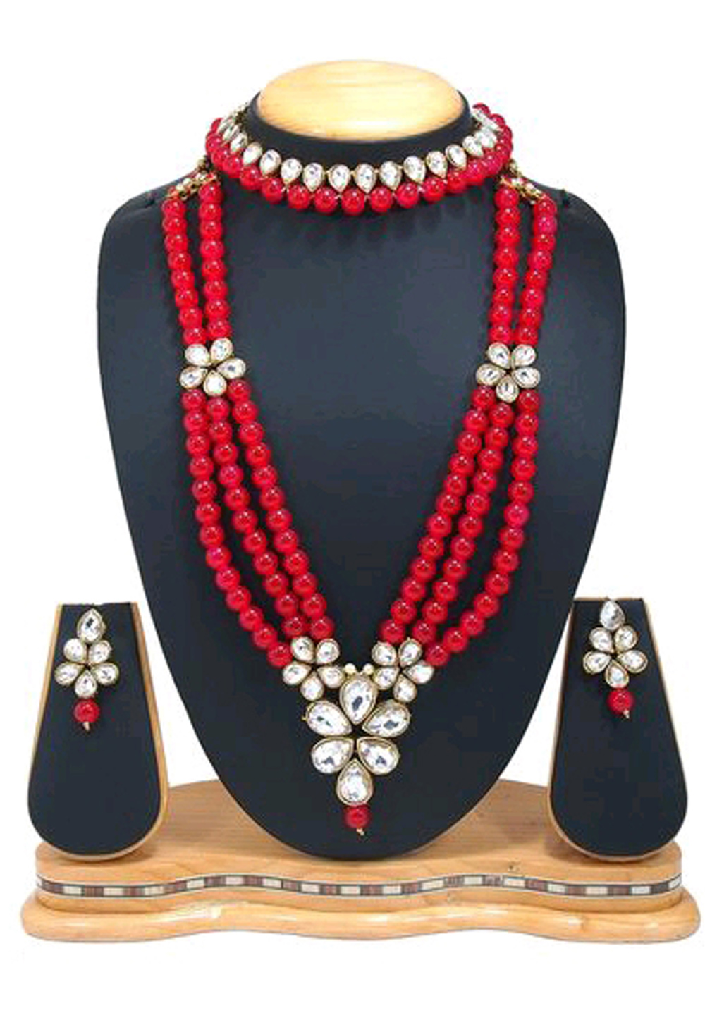 Red Alloy Austrian Diamond Necklace Set Earrings 191634