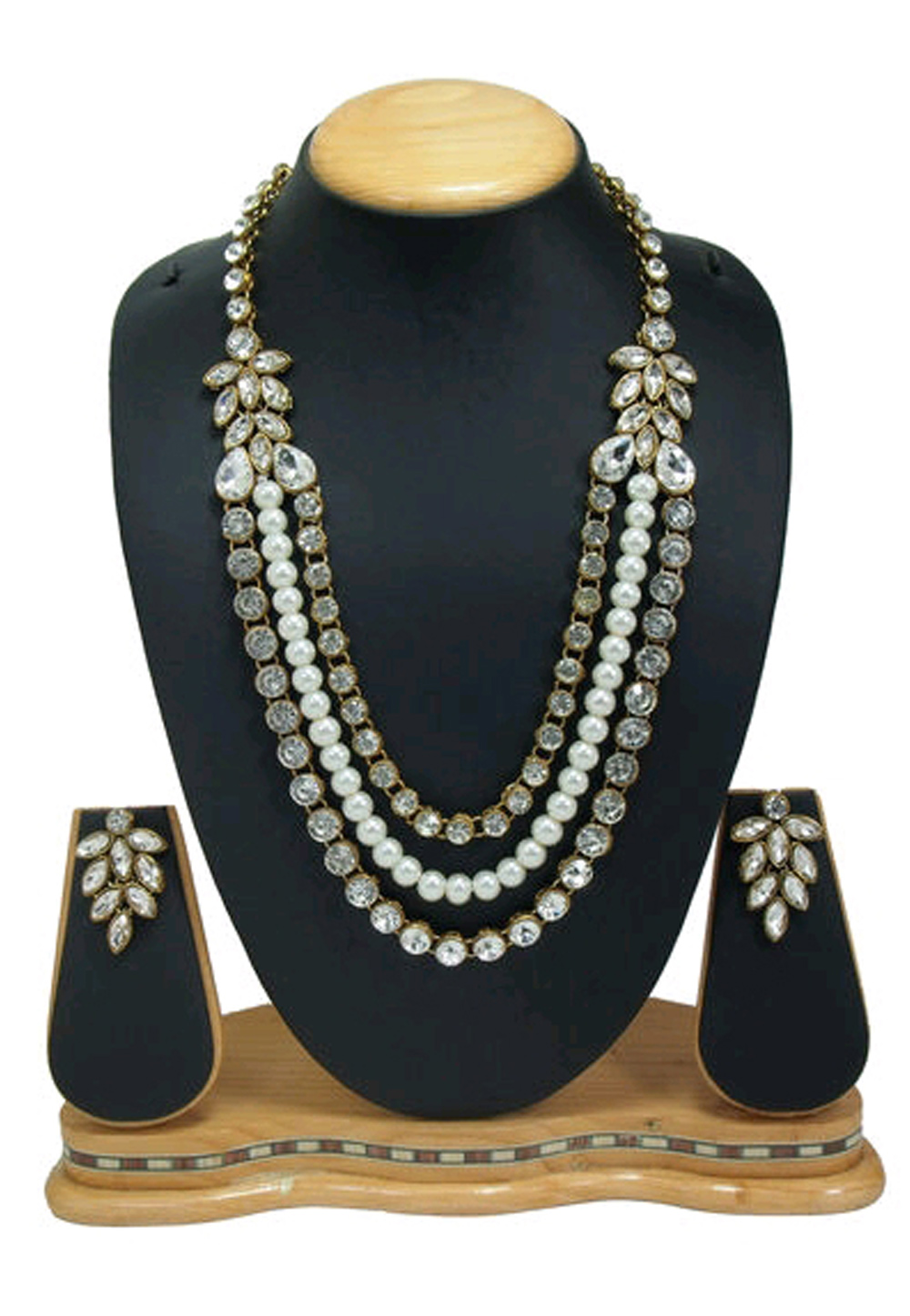 White Alloy Austrian Diamond Necklace Set Earrings 191635