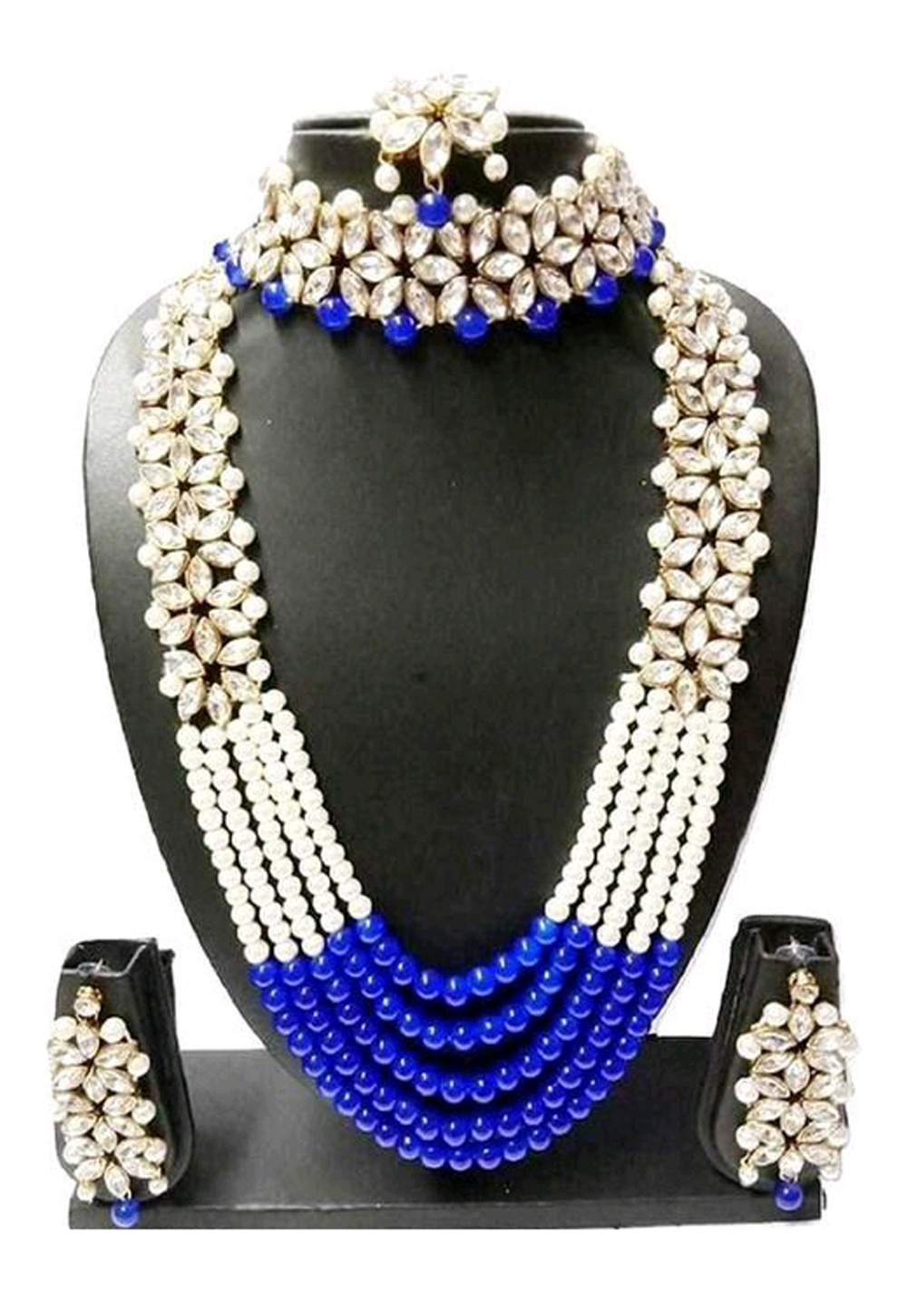 Blue Alloy Austrian Diamond Necklace Set Earrings 191637