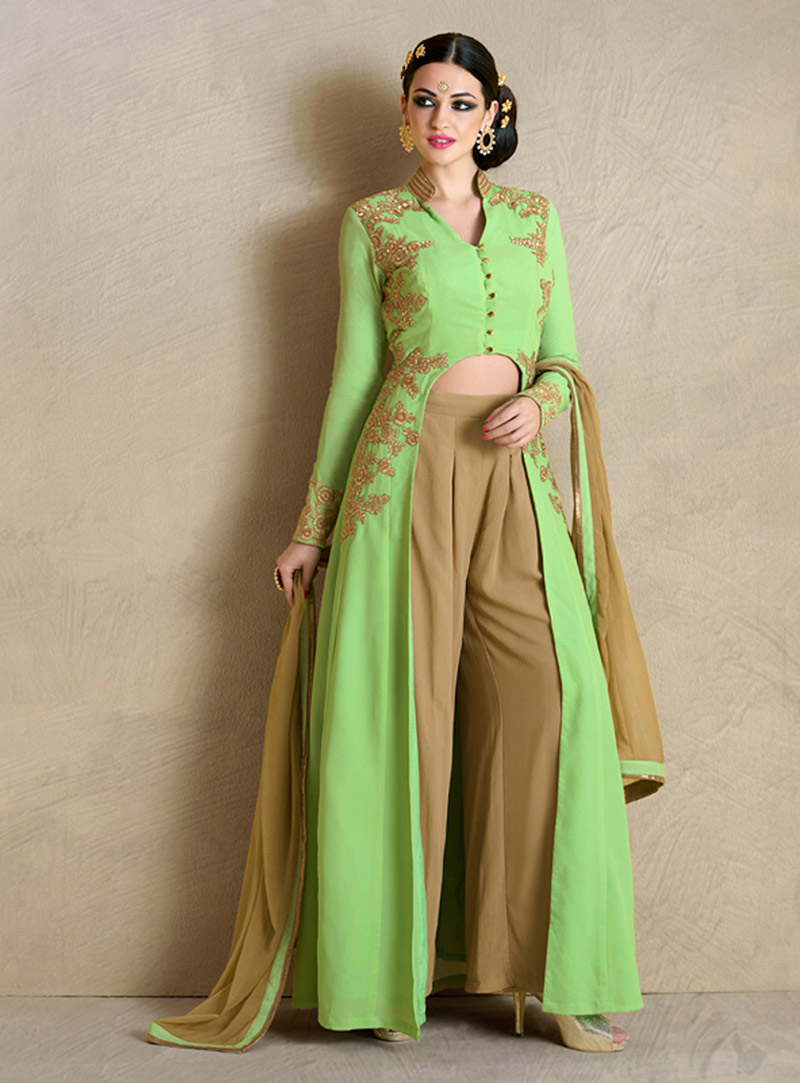 Green Georgette Palazzo Style Suit 74448