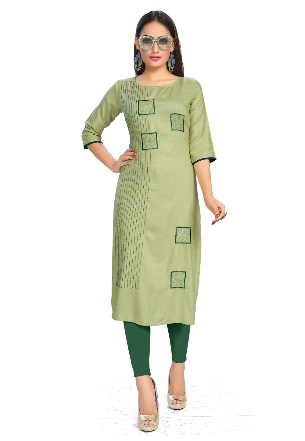Light Green Rayon Readymade Tunic 204857