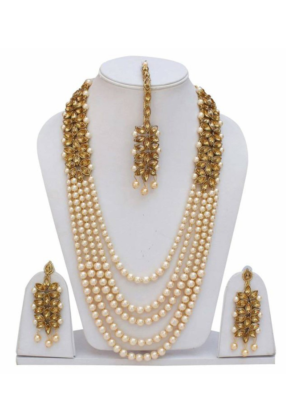 Golden Alloy Austrian Diamond Necklace Set Earrings 191646