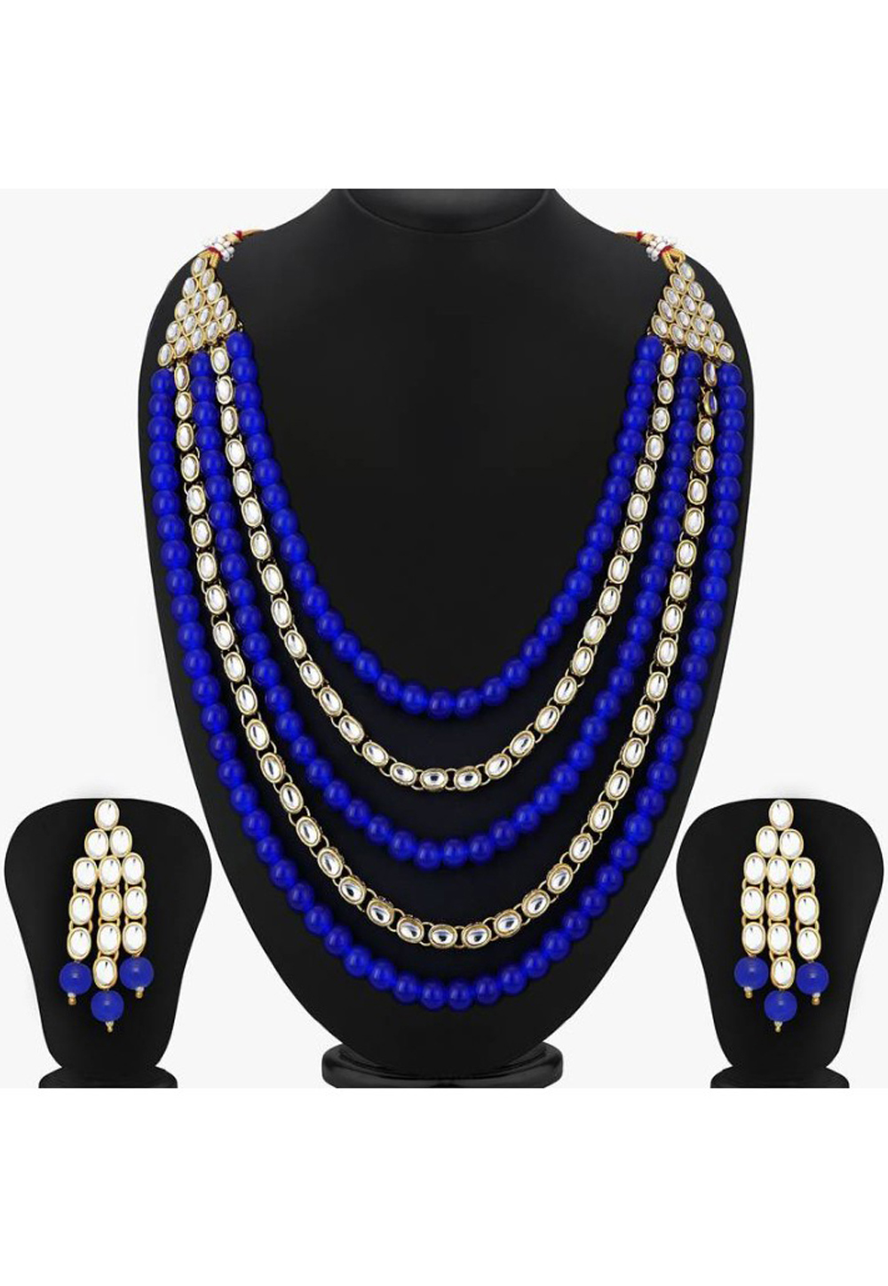 Blue Alloy Austrian Diamond Necklace Set Earrings 191653