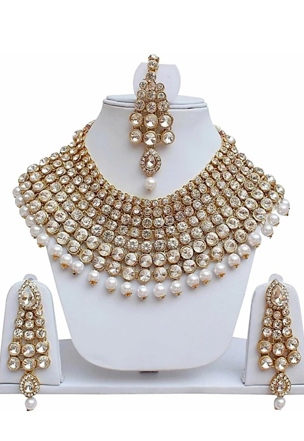 White Alloy Austrian Diamond Necklace Set Earrings 191654
