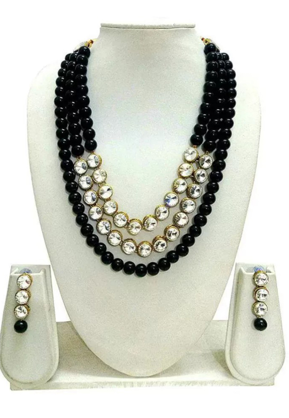 Black Alloy Austrian Diamond Necklace Set Earrings 191656