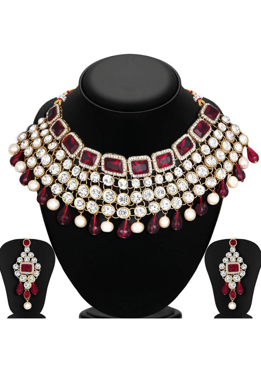 Red Alloy Austrian Diamond Necklace Set Earrings 191660