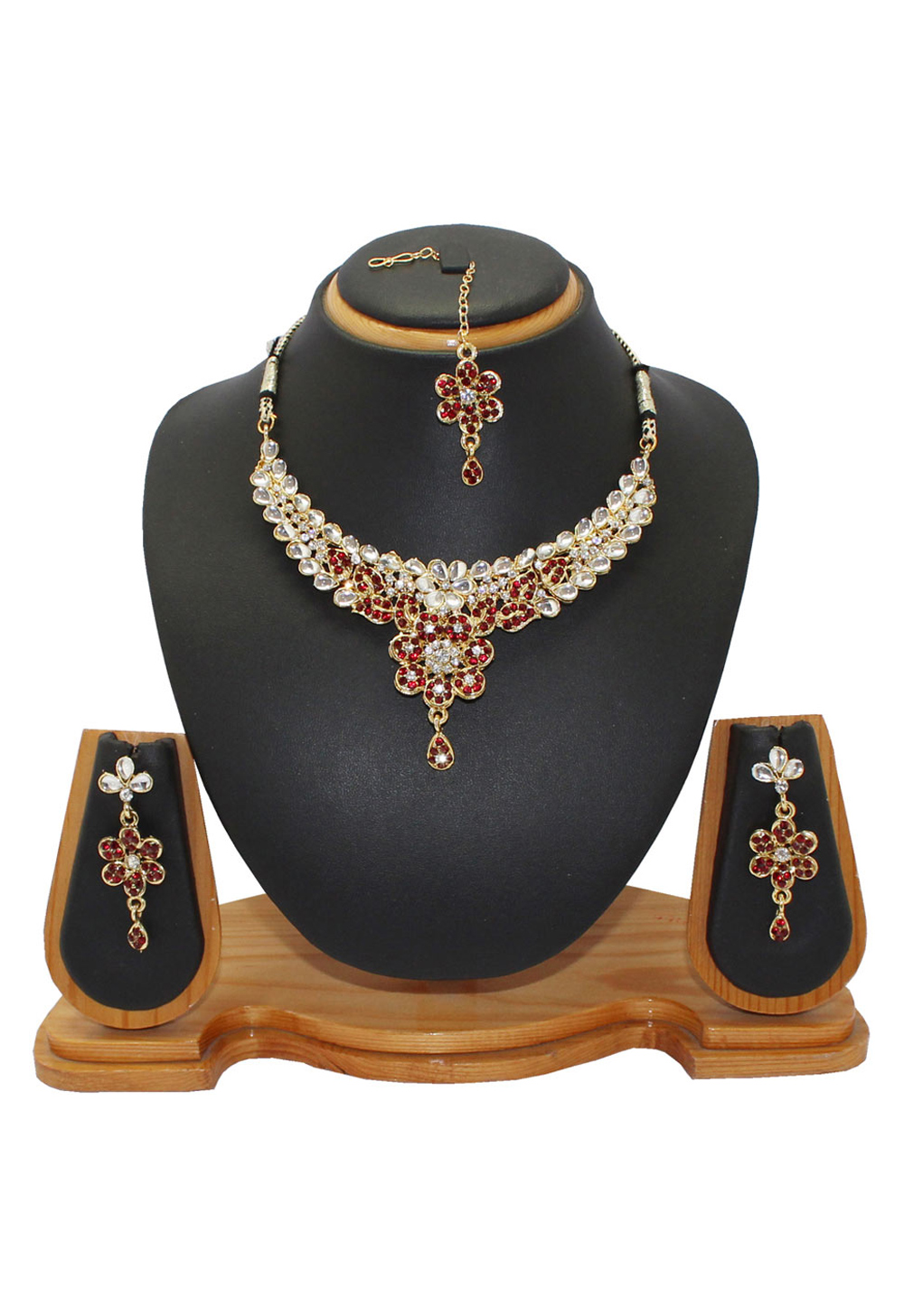 Maroon Alloy Austrian Diamonds Necklace With Earrings and Maang Tikka 64338
