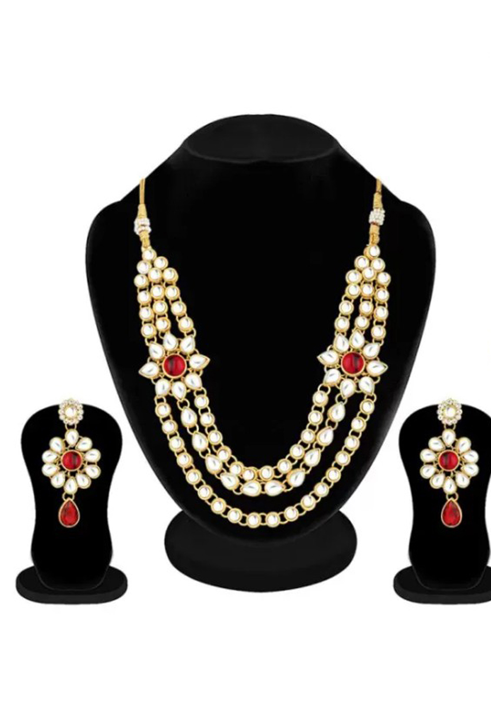 Red Alloy Austrian Diamond Necklace Set Earrings 191664