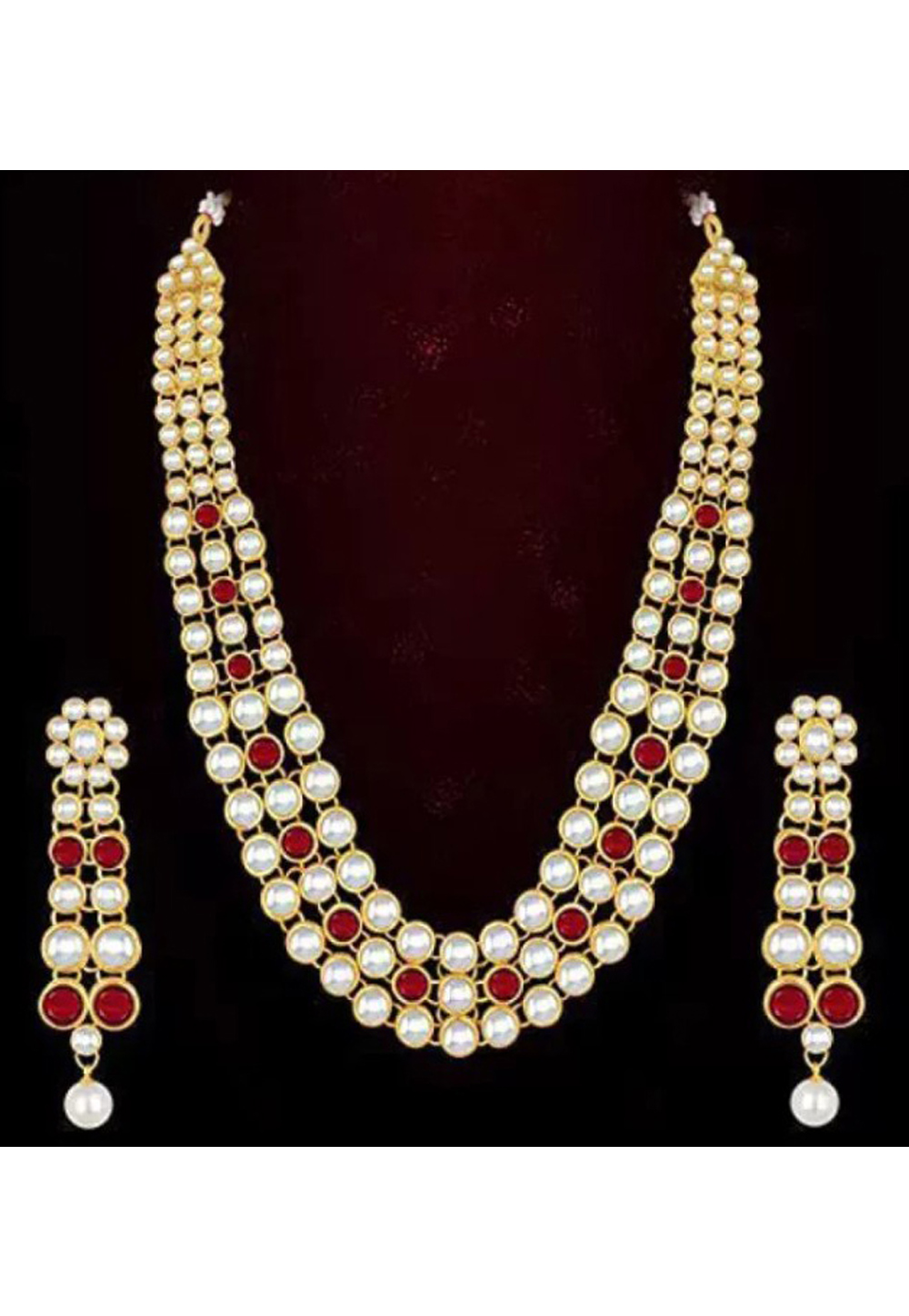 Red Alloy Austrian Diamond Necklace Set Earrings 191665
