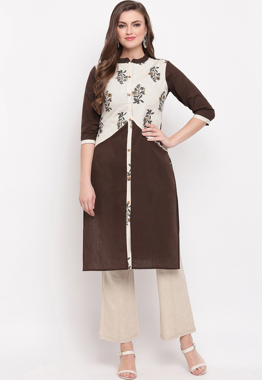 Brown Cotton Readymade Kurti 208398