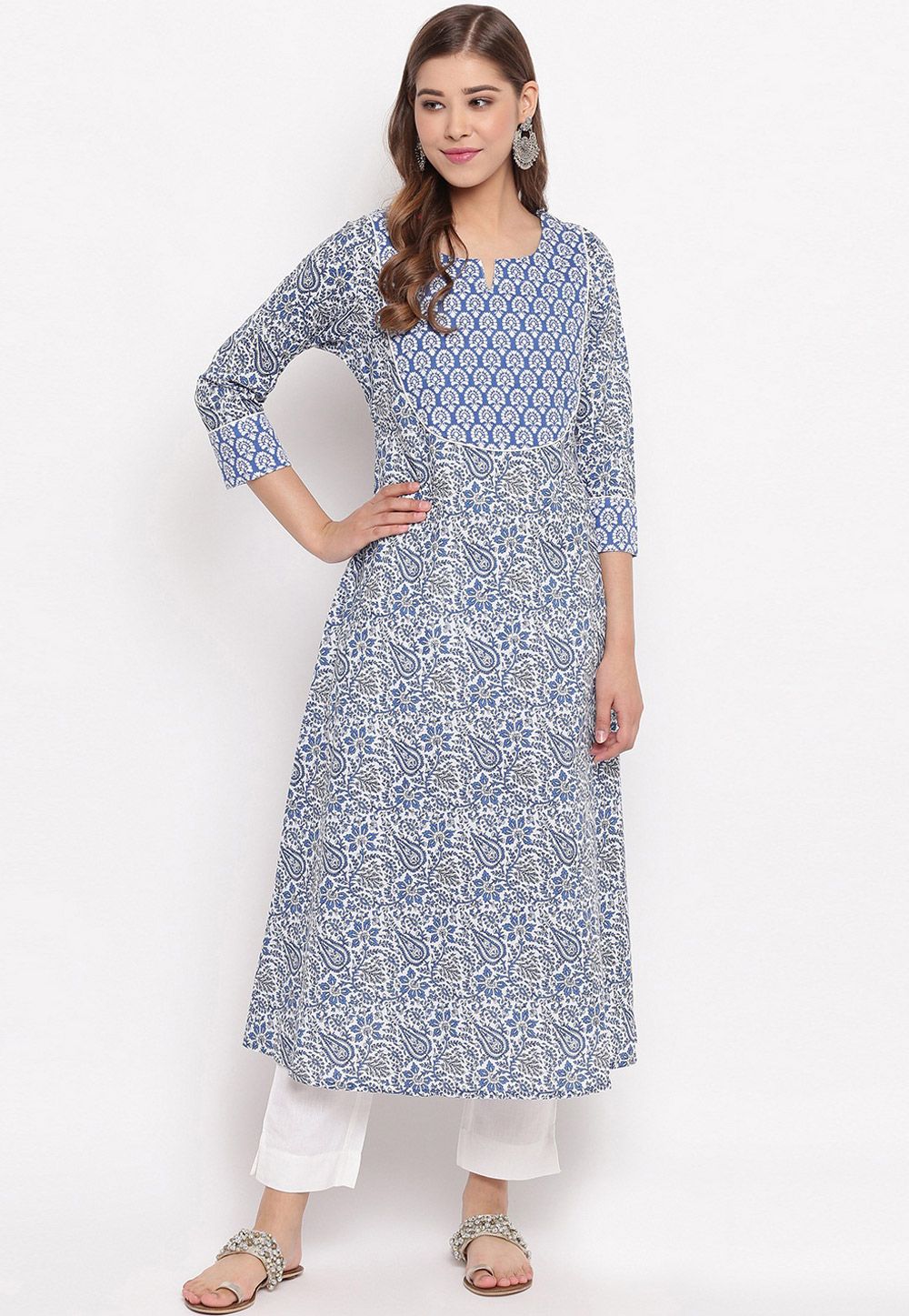 Blue Cotton Readymade Tunic 208405