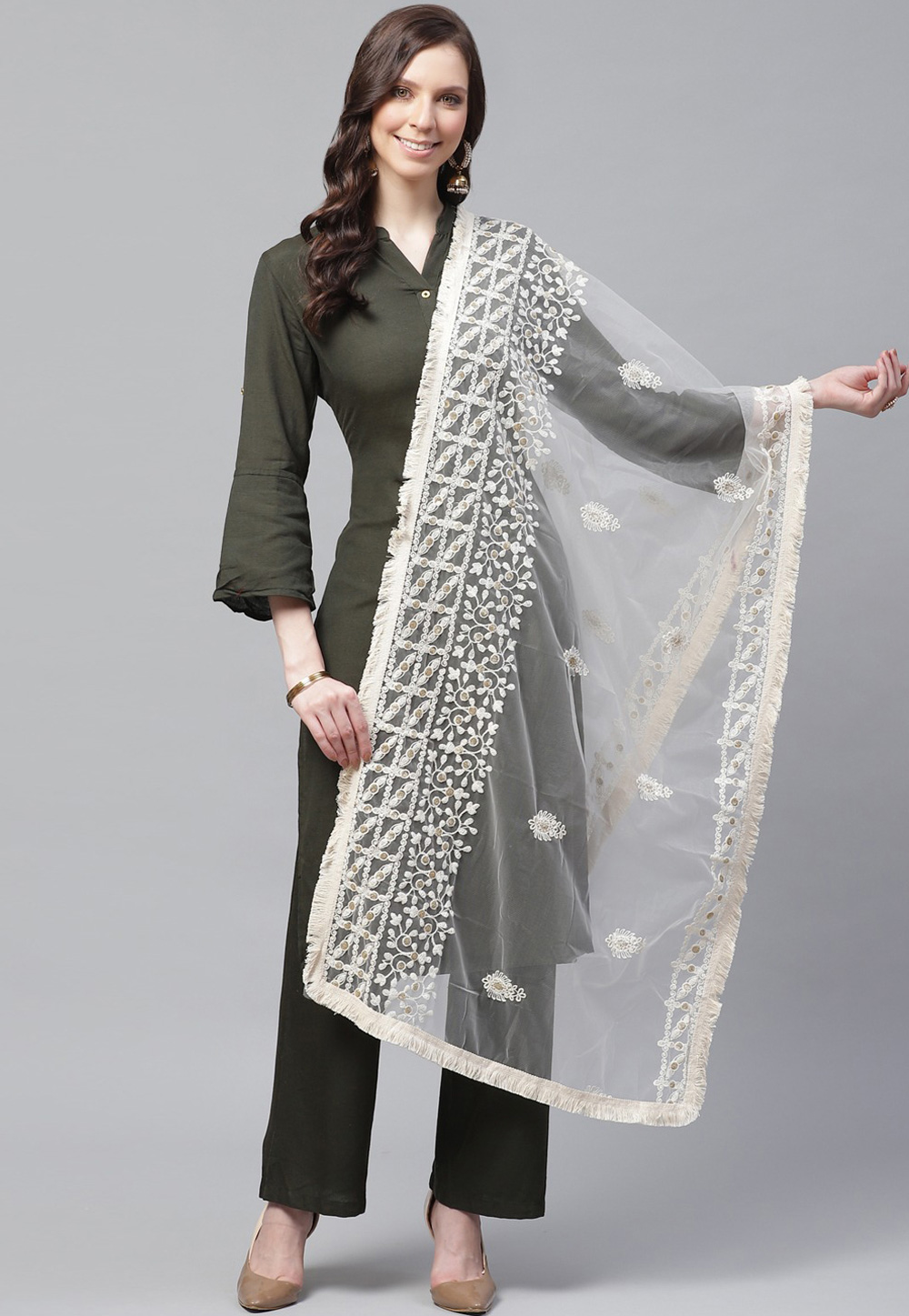 Off White Net Dupatta 208636
