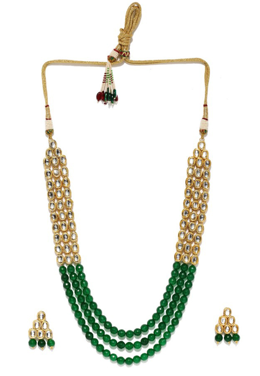 Green Alloy Austrian Diamond Necklace Set Earrings 191683