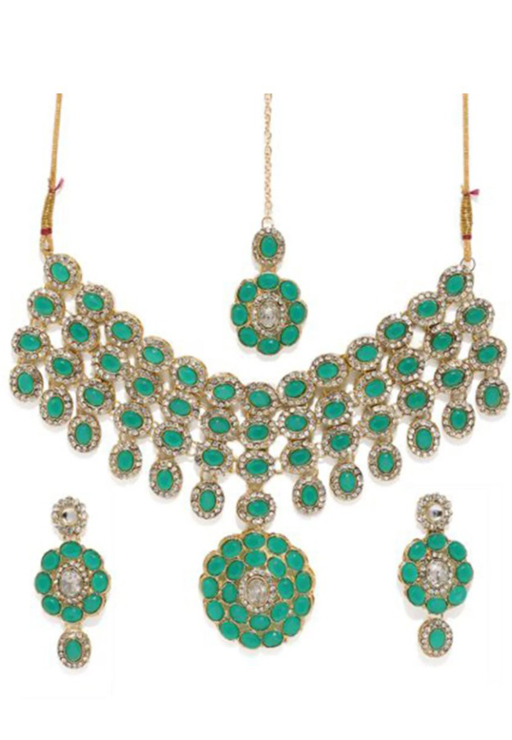 Green Alloy Austrian Diamond Necklace Set Earrings 191684