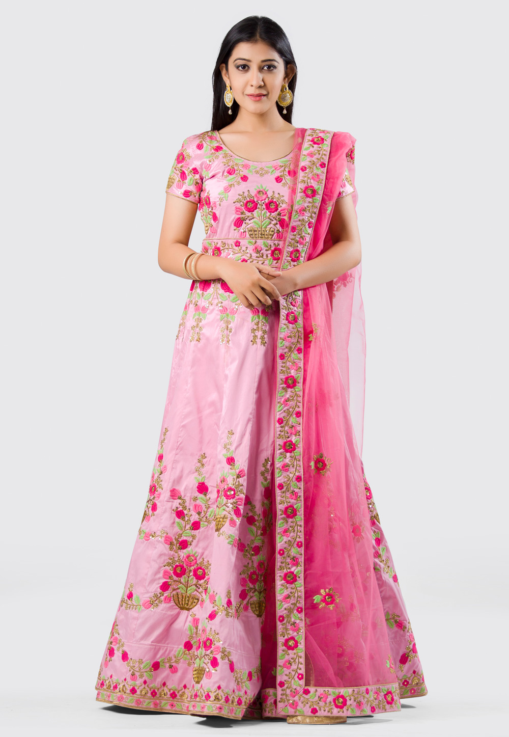 Pink Silk Anarkali Suit With Embroidery Work 154582