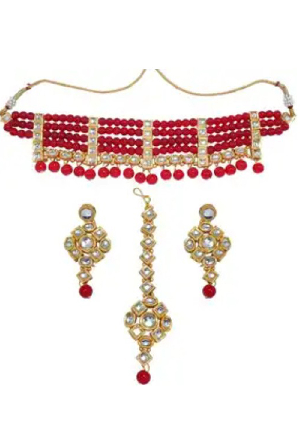 Red Alloy Austrian Diamond Necklace Set Earrings and Maang Tikka 198933