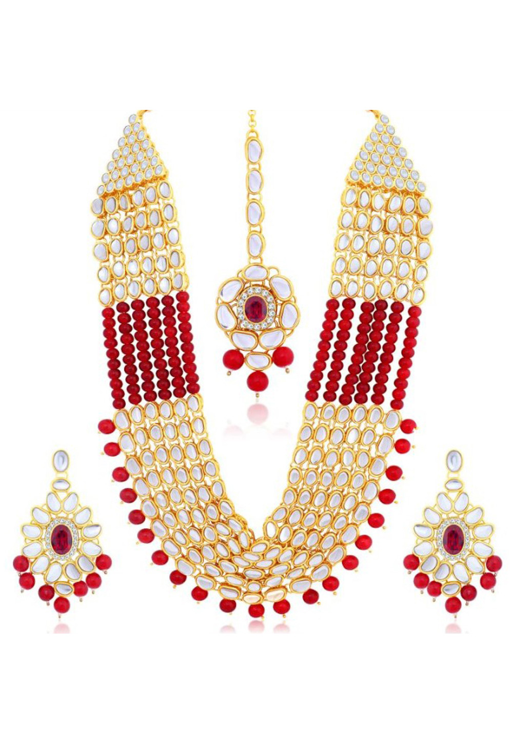 Red Alloy Austrian Diamond Necklace Set Earrings and Maang Tikka 198935