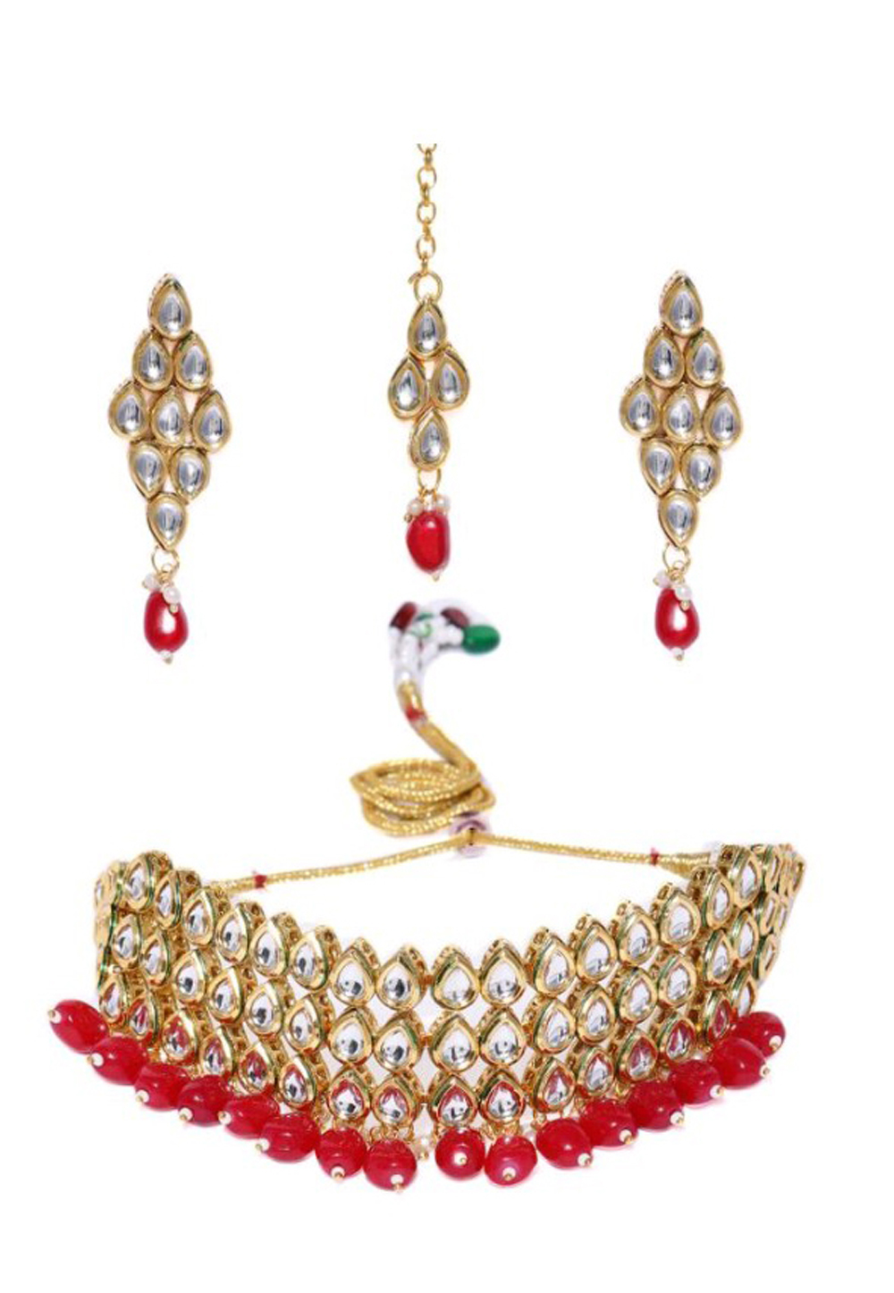 Red Alloy Austrian Diamond Necklace Set Earrings and Maang Tikka 198936