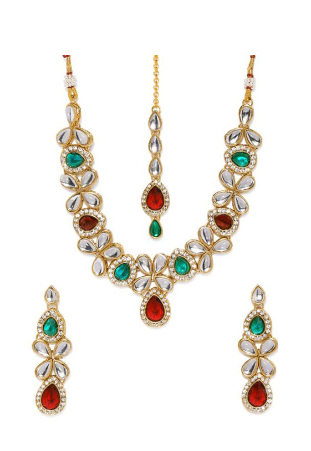 Red Alloy Austrian Diamond Necklace Set Earrings and Maang Tikka 198937