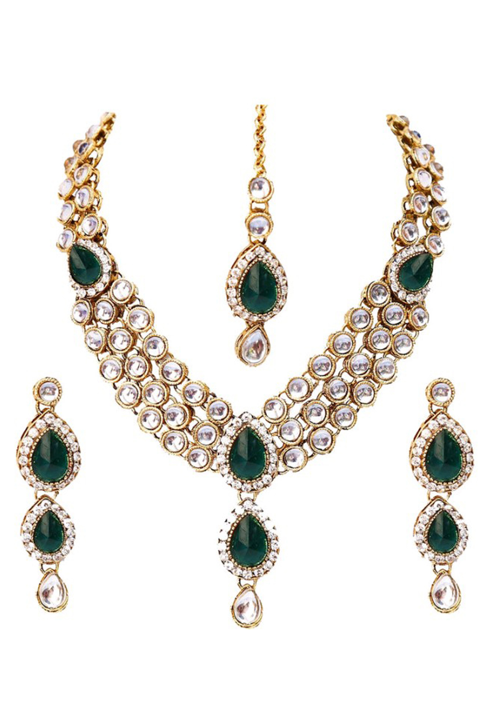 Green Alloy Austrian Diamond Necklace Set Earrings and Maang Tikka 198938