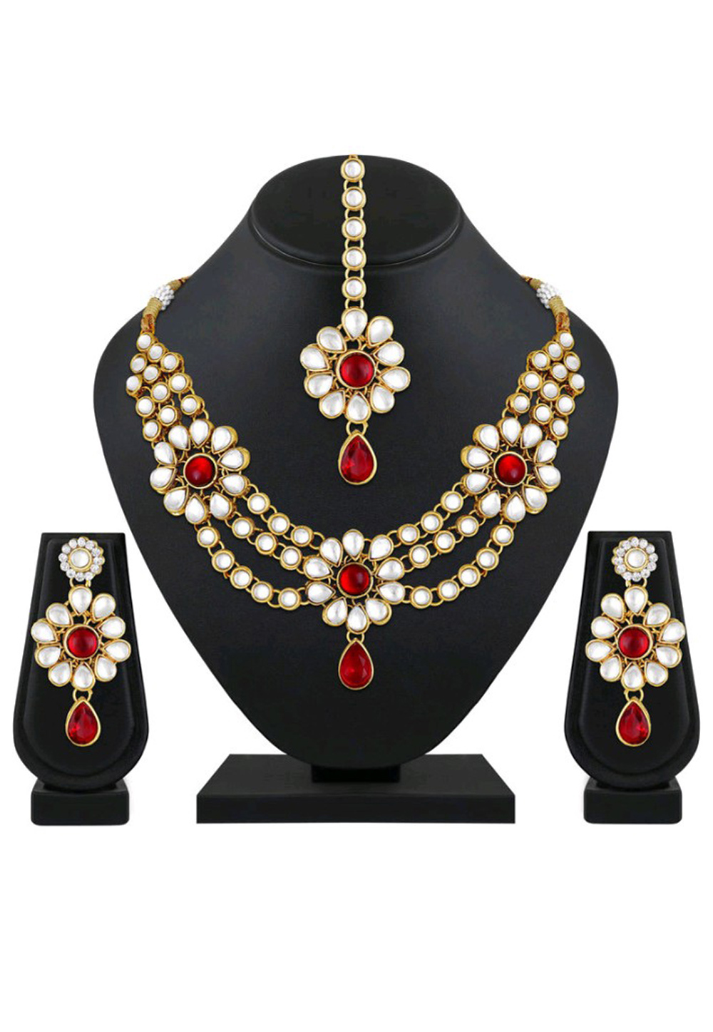 Red Alloy Austrian Diamond Necklace Set Earrings and Maang Tikka 198944