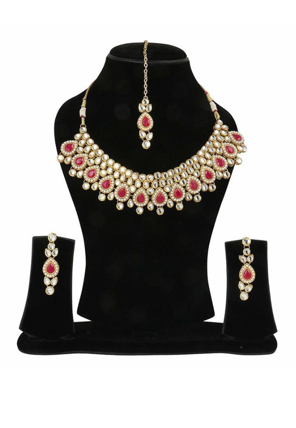 Red Alloy Austrian Diamond Necklace Set Earrings and Maang Tikka 198950