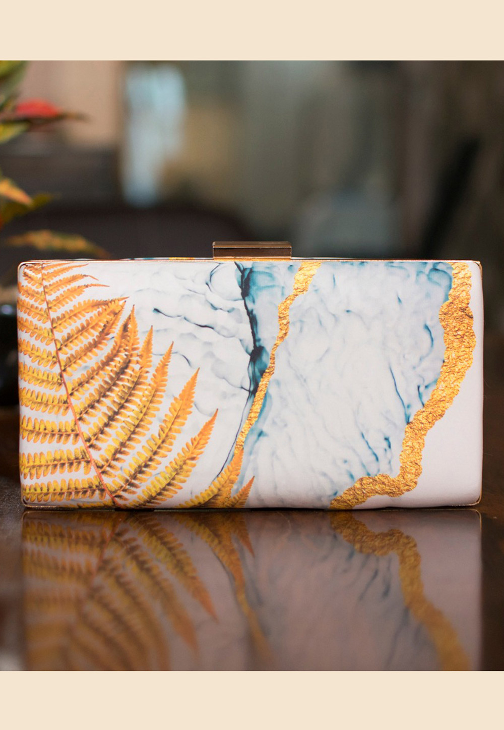 Off White Satin Printed Clutch 209137