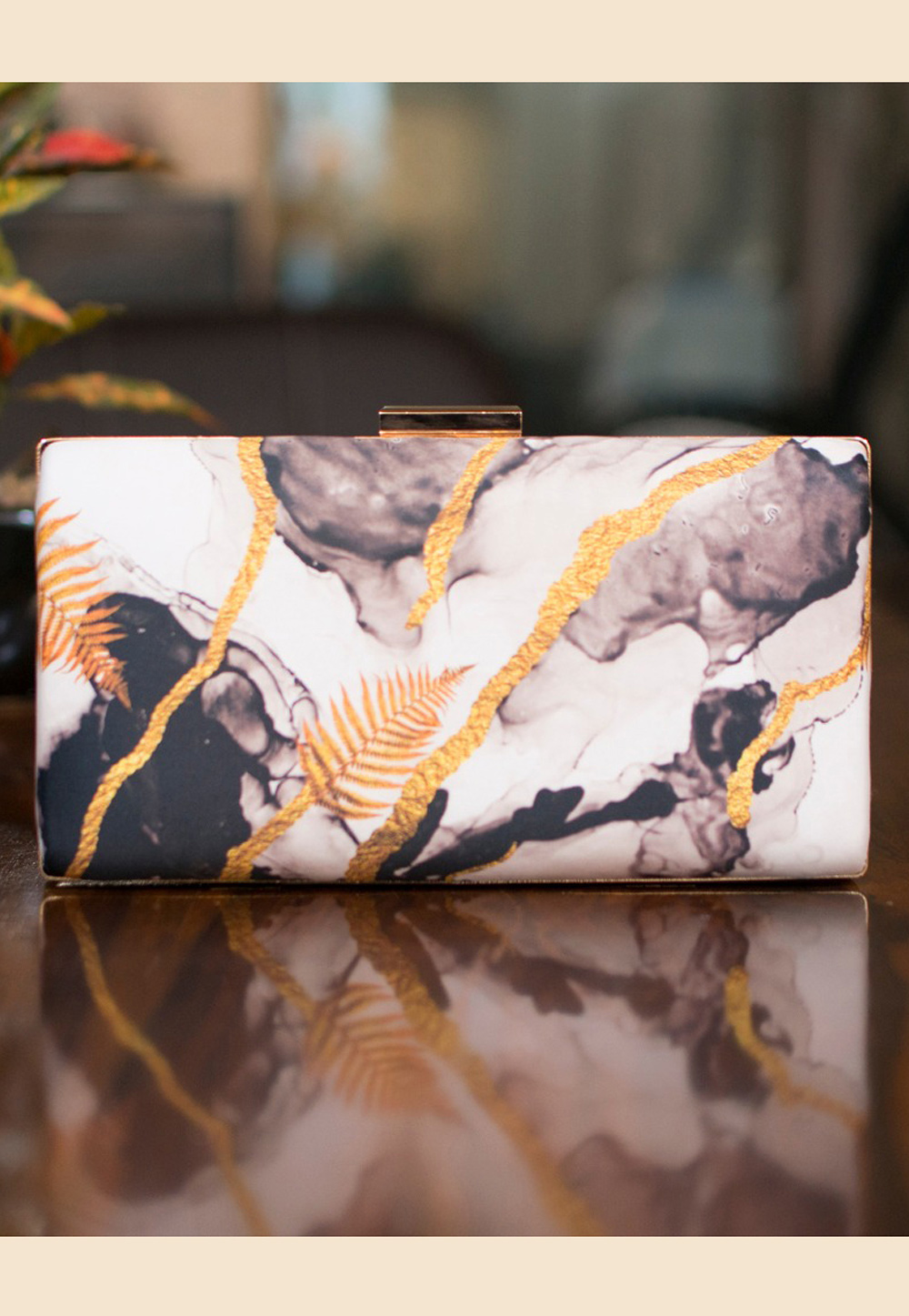 Off White Satin Printed Clutch 209139