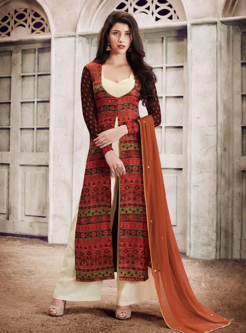 Rust Georgette Palazzo Style Suit 90678