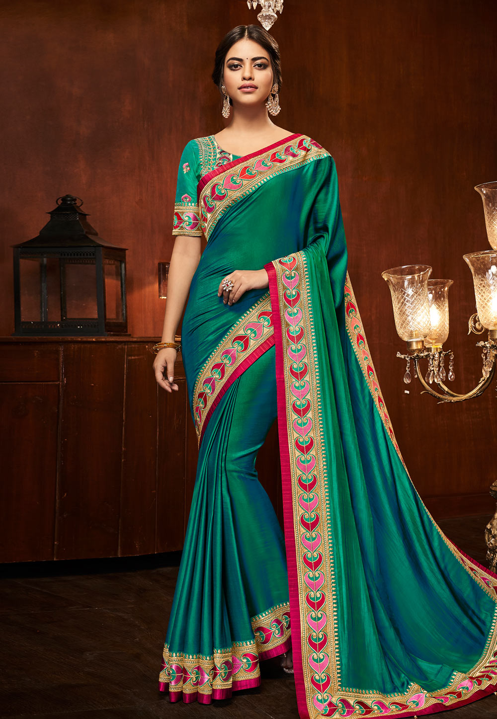 Teal Green Silk Saree With Embroidered Blouse 153860
