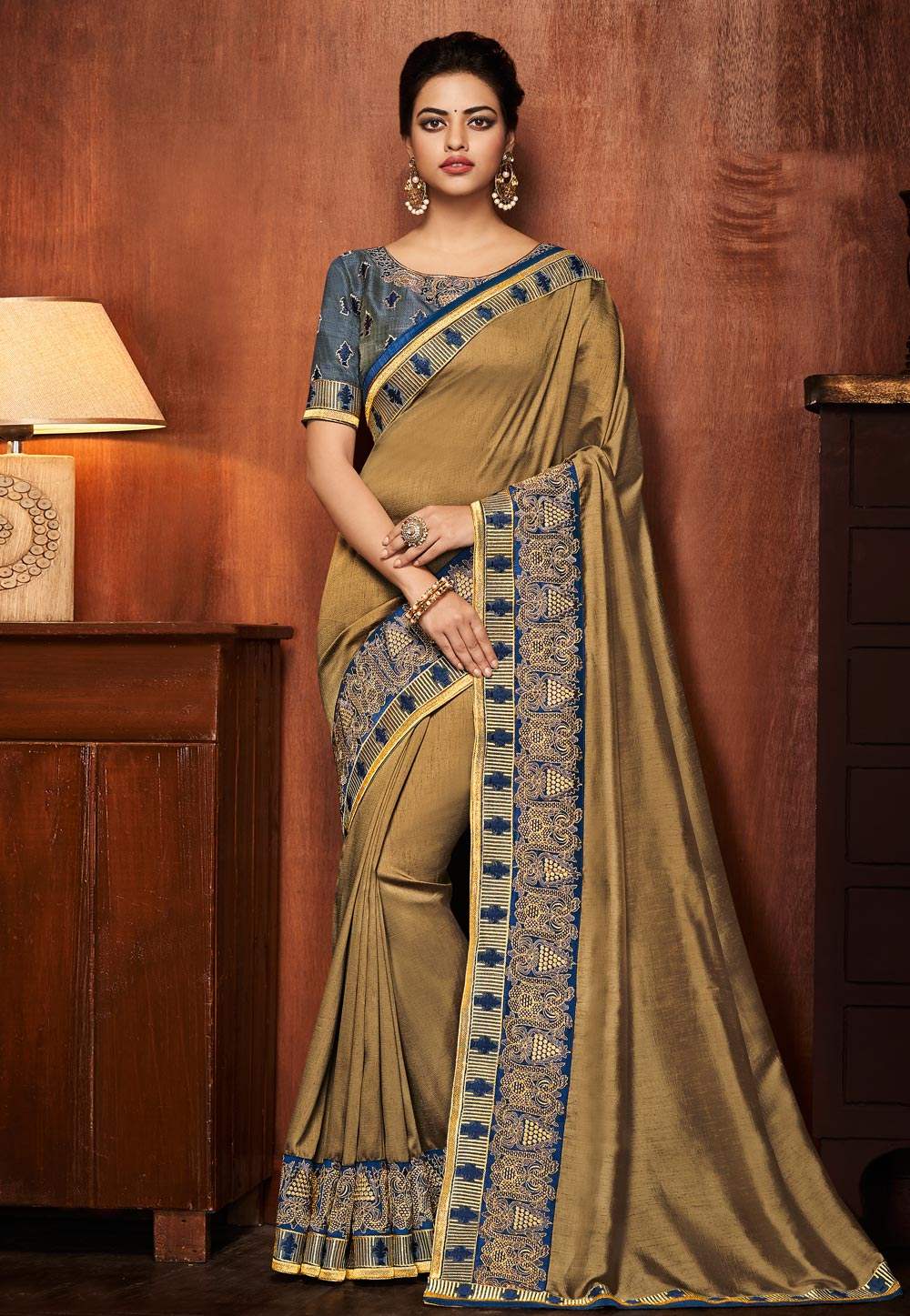 Golden Silk Saree With Blouse 153864