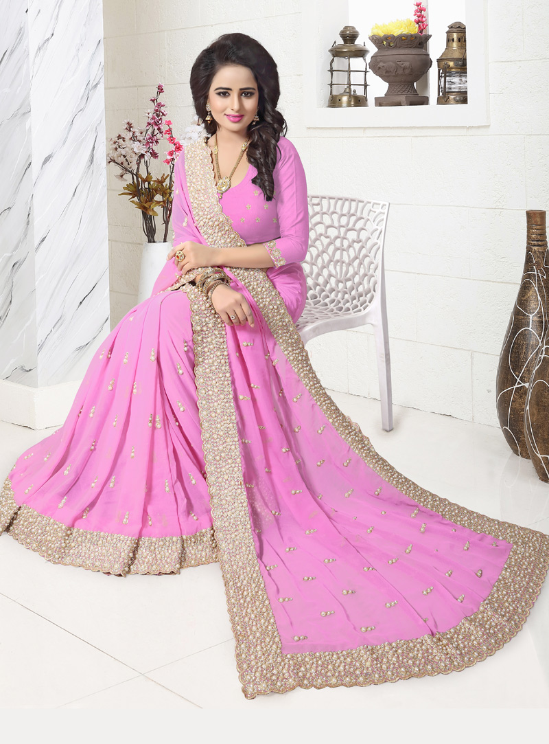 Pink Georgette Patch Lace Work Saree 117204