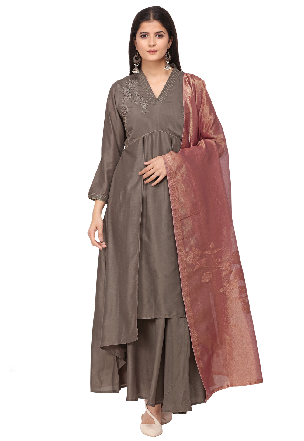 Brown Muslin Readymade Gown 209928