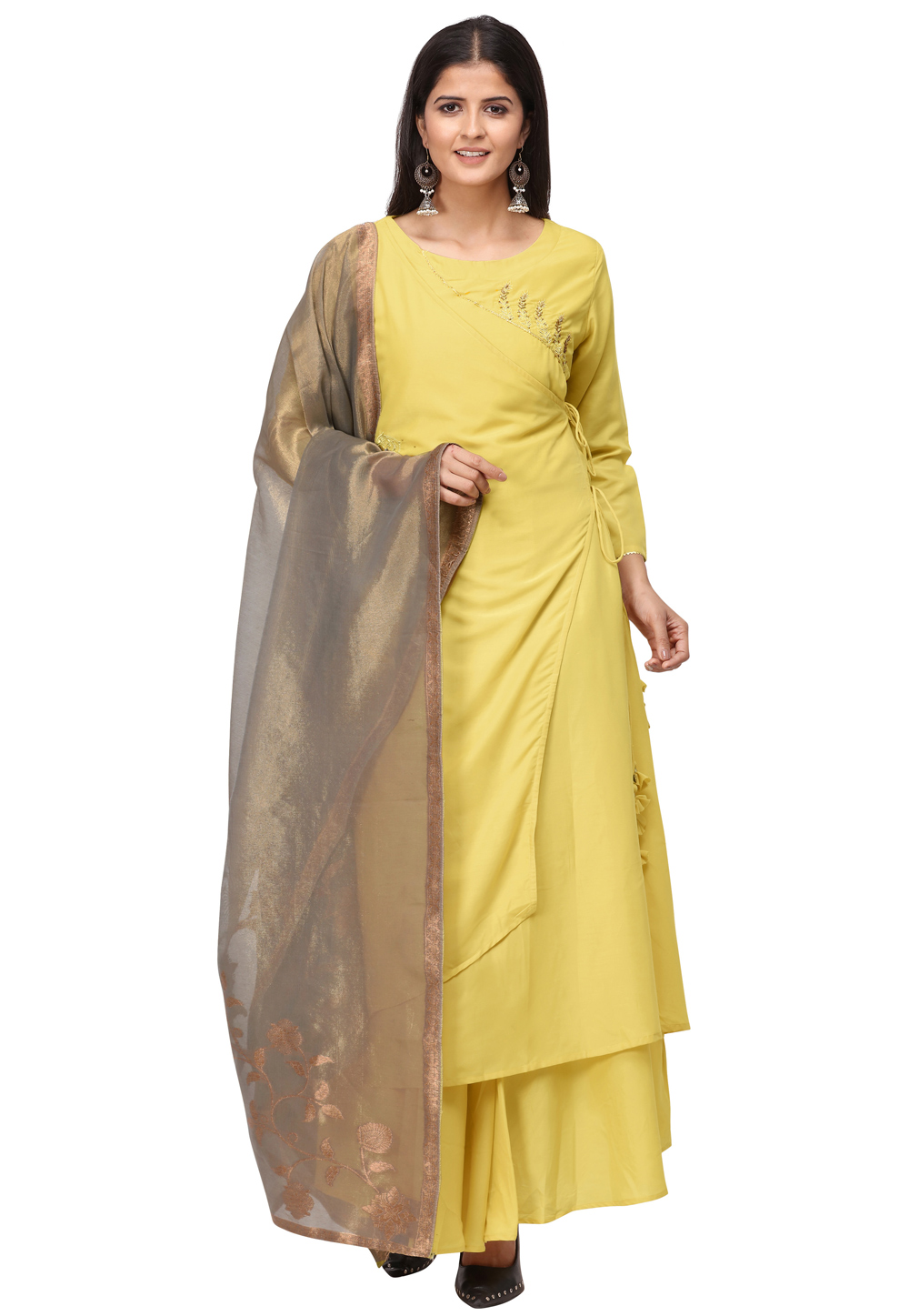 Yellow Muslin Readymade Gown 209929