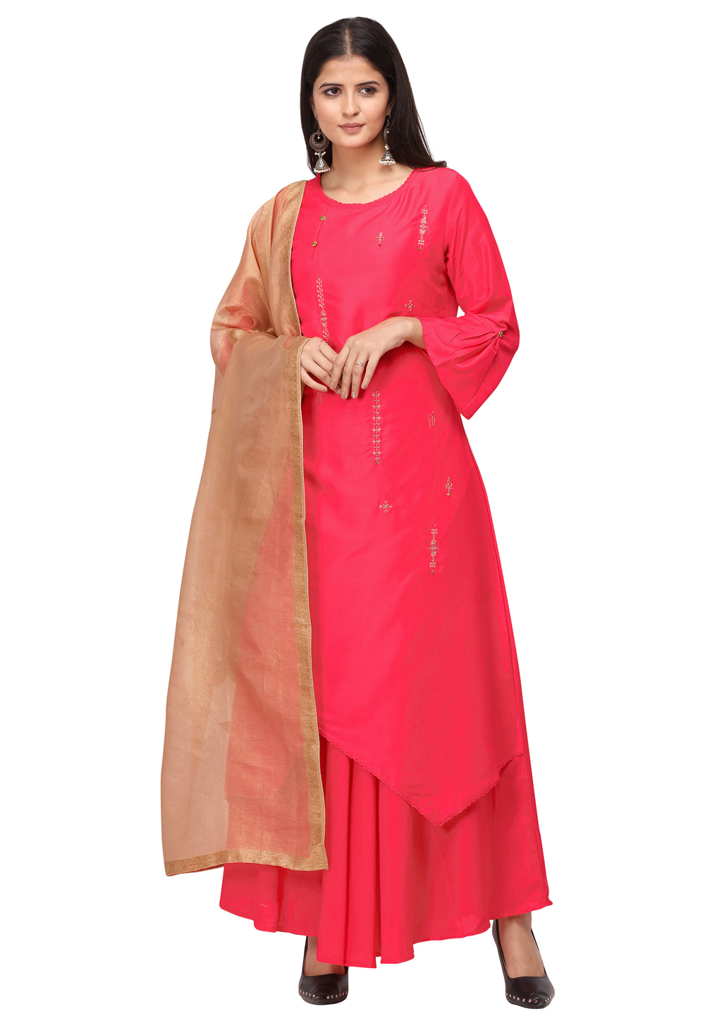Pink Muslin Readymade Gown 209930