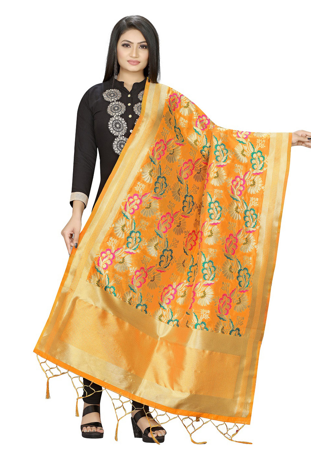 Yellow Banarasi Silk Dupatta 209308